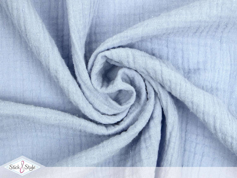 musselin stoff uni babyblau baumwolle stoffe und meterware g nstig online. Black Bedroom Furniture Sets. Home Design Ideas