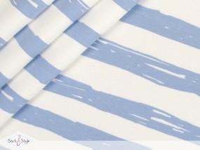 Jersey Painted Stripes - hellblau Streifen Eigenproduktion Ökotex