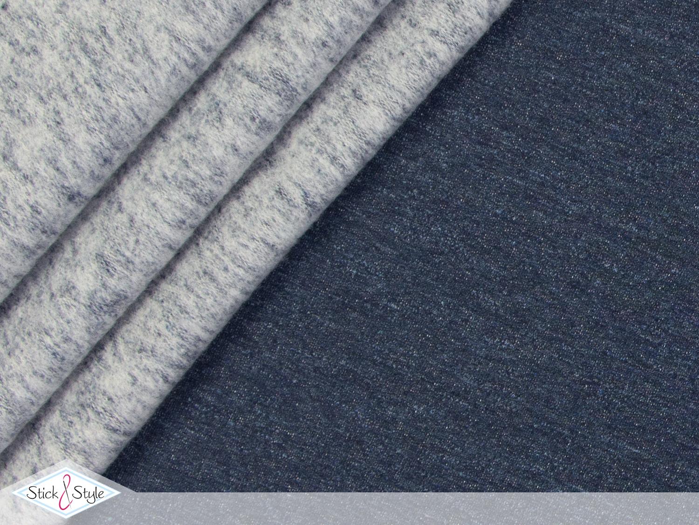 sweat stoff vintage uni dunkelblau meliert stoffe und. Black Bedroom Furniture Sets. Home Design Ideas