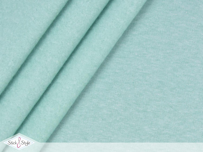 sweat stoff uni mint meliert kuschelweich stick und style. Black Bedroom Furniture Sets. Home Design Ideas