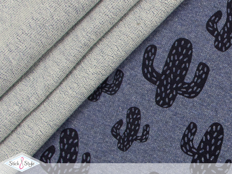 french terry comic kakteen graublau meliert kotex stoffe und meterware g nstig online. Black Bedroom Furniture Sets. Home Design Ideas