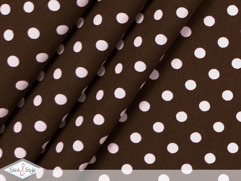 stoff punkte baumwolle dunkelbraun wei stoffe und meterware g nstig online. Black Bedroom Furniture Sets. Home Design Ideas