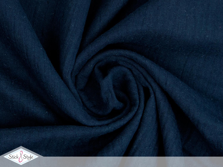 musselin stoff uni nachtblau baumwolle stoffe und meterware g nstig online. Black Bedroom Furniture Sets. Home Design Ideas