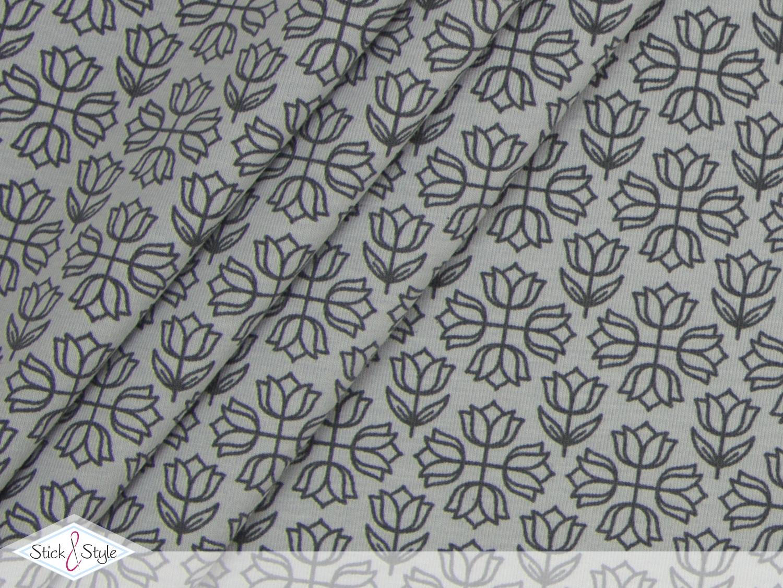 jersey tulip treasure hellgrau dunkelgrau kotex stoffe und meterware g nstig online. Black Bedroom Furniture Sets. Home Design Ideas