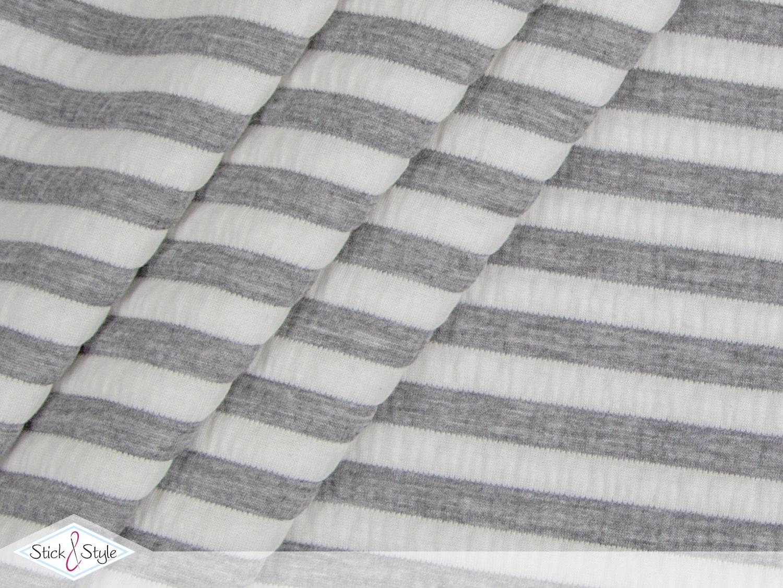 elastischer cloqu streifen crush grau creme besondere stoffe stoffe stoffe und. Black Bedroom Furniture Sets. Home Design Ideas