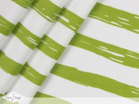 Jersey Painted Stripes - hellgrün Streifen Eigenproduktion Ökotex