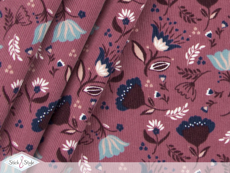feincord floral beauty klein brombeer babycord stoffe und meterware g nstig online. Black Bedroom Furniture Sets. Home Design Ideas
