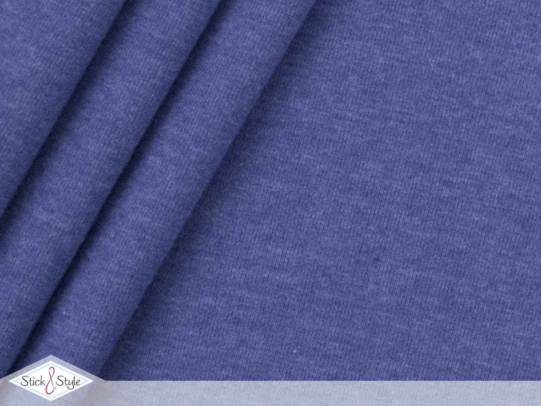 jersey baumwolle uni mittelblau meliert stoffe und meterware g nstig online. Black Bedroom Furniture Sets. Home Design Ideas