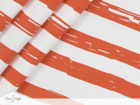 Jersey Painted Stripes - orange Streifen Eigenproduktion Ökotex