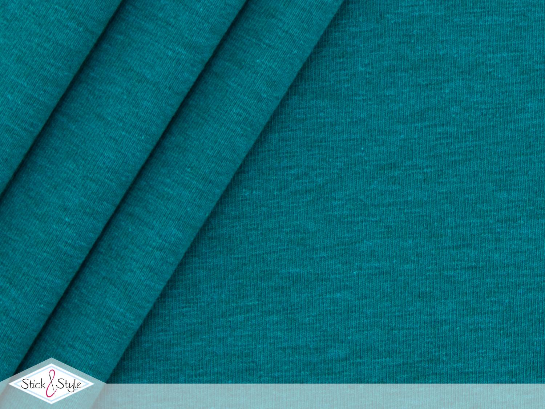 jersey baumwolle uni t rkis schwarz meliert stoffe und meterware g nstig online. Black Bedroom Furniture Sets. Home Design Ideas