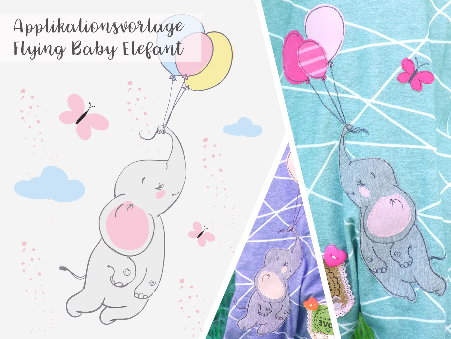 Applikationsvorlage Flying Baby Elephant Stick Und Style