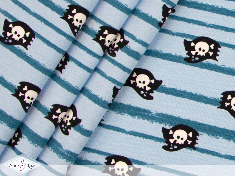 jersey piratenabenteuer flaggen hellblau kotex stoffe und meterware g nstig online. Black Bedroom Furniture Sets. Home Design Ideas