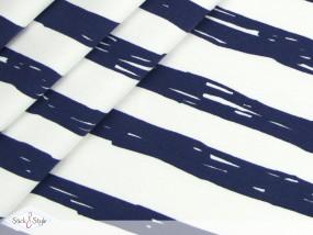 Jersey Painted Stripes - dunkelblau Streifen Eigenproduktion Ökotex