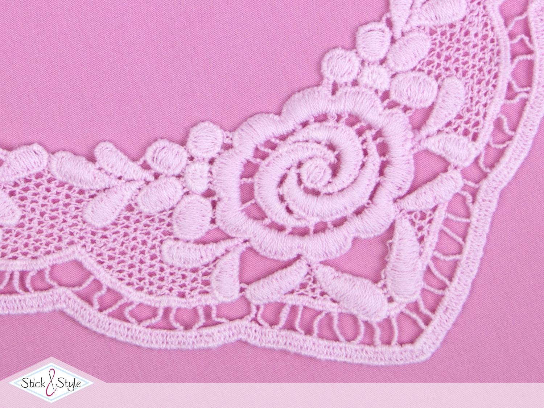 spitzeneinsatz rosen rosa stoffe und meterware g nstig online. Black Bedroom Furniture Sets. Home Design Ideas