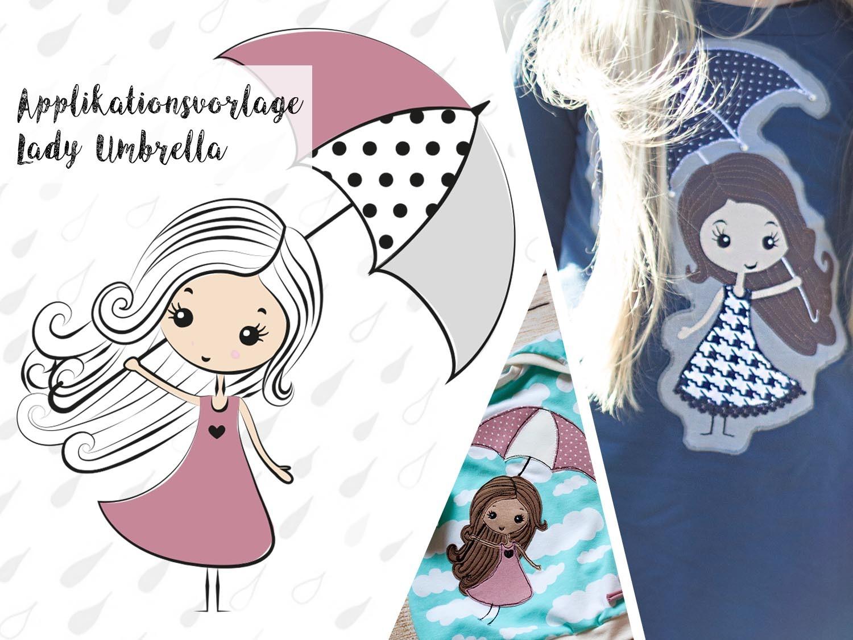 Applikationsvorlage Lady Umbrella   Stoffe und Meterware günstig online