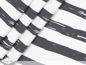 Jersey Painted Stripes - dunkelgrau Streifen Eigenproduktion Ökotex