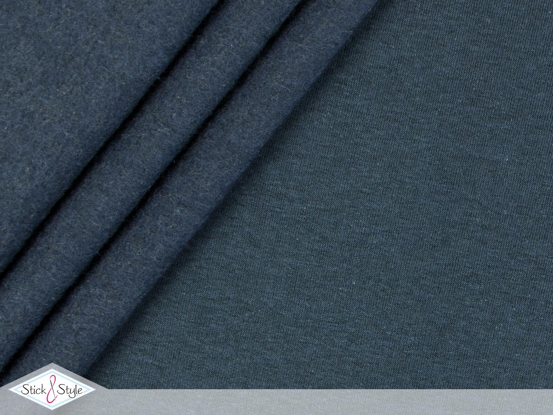 sweat stoff uni dunkelblau schwarz meliert stoffe und meterware g nstig online. Black Bedroom Furniture Sets. Home Design Ideas