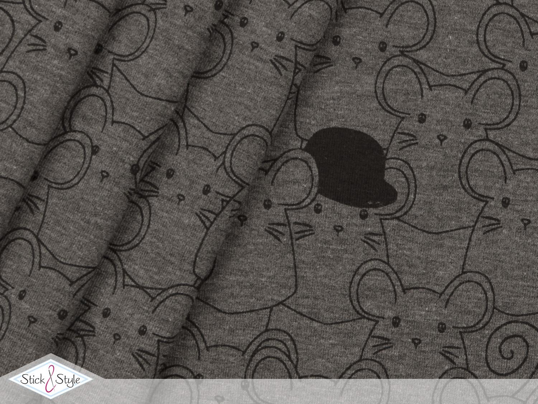 jersey mr mouse dunkelgrau meliert kotex stoffe und meterware g nstig online. Black Bedroom Furniture Sets. Home Design Ideas
