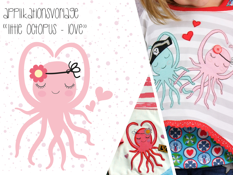applikationsvorlage octopus love stoffe und meterware g nstig online. Black Bedroom Furniture Sets. Home Design Ideas