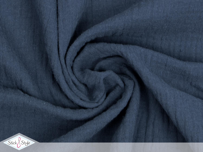 musselin stoff uni dunkelblau baumwolle stoffe und. Black Bedroom Furniture Sets. Home Design Ideas