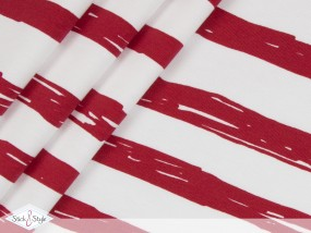 Jersey Painted Stripes - rot Streifen Eigenproduktion Ökotex