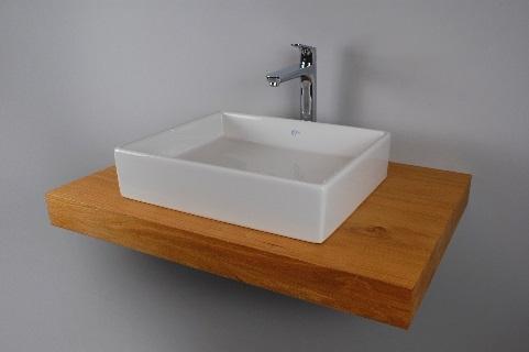 waschtisch eiche massiv f r bad mit aufsatzwaschbecken eckig und armatur ebay. Black Bedroom Furniture Sets. Home Design Ideas