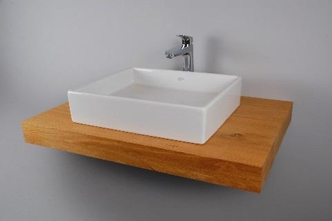 waschtisch eiche massiv f r bad mit aufsatzwaschbecken rund und armatur ebay. Black Bedroom Furniture Sets. Home Design Ideas