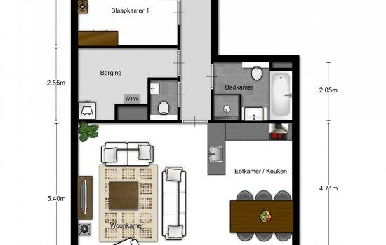 Woningtype 2-kamer appartementen in het project Eindhoven - Meerzichtappartementen te Eindhoven