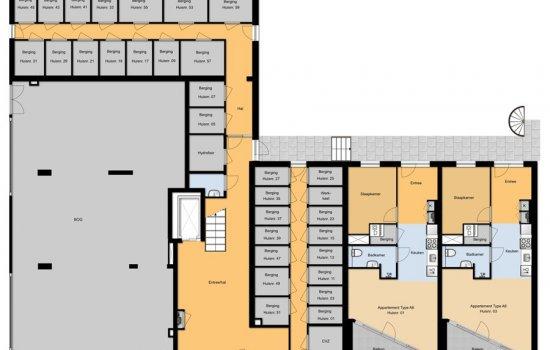 Woningtype Drie- en vierkamerappartementen in het project Dok7 te Amsterdam