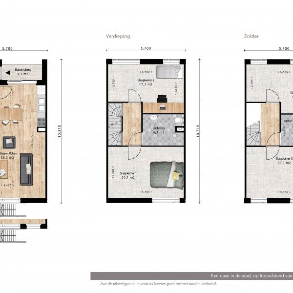 Lunettenhof - 3 laagse woning - tussen, bouwnummer 5