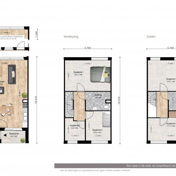 Lunettenhof - 3 laagse woning - tussen, bouwnummer 24