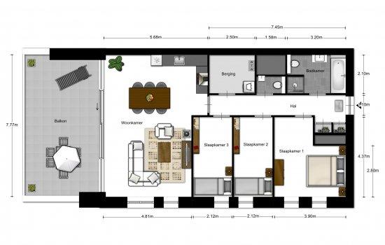 4-kamer appartementen, bouwnummer 2