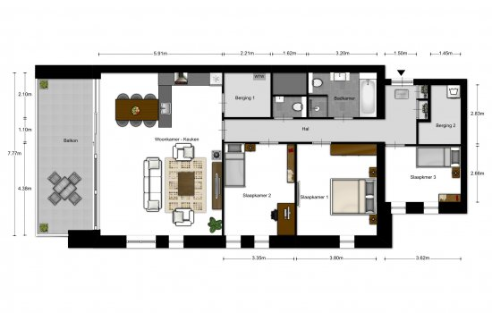4-kamer appartementen, bouwnummer 402
