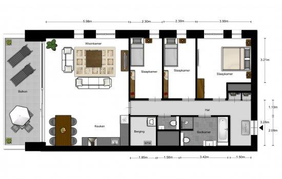 4-kamer appartementen, bouwnummer 1001
