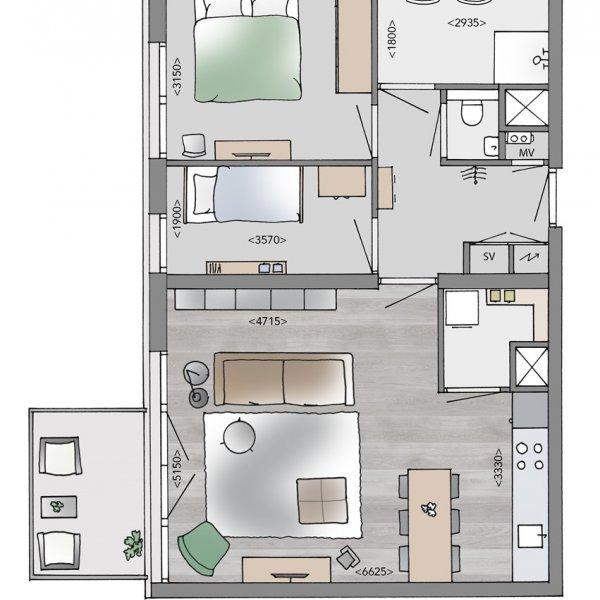 Medium appartementen, bouwnummer 22