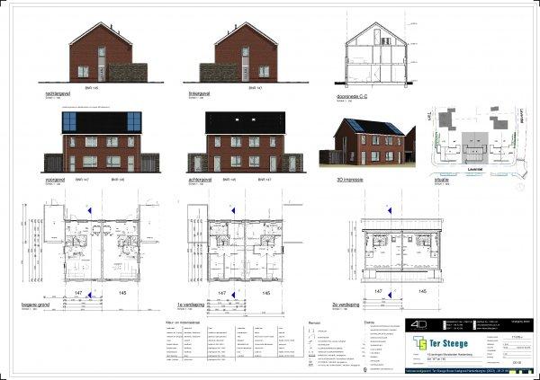 Bouwtekening van bouwnummer 145 en 147