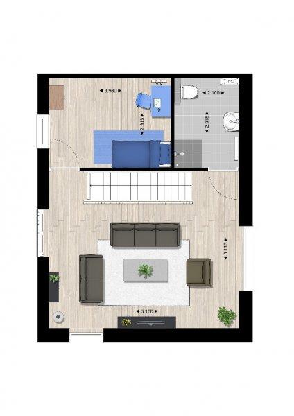 Plattegrond woningtype B1 1e verdieping