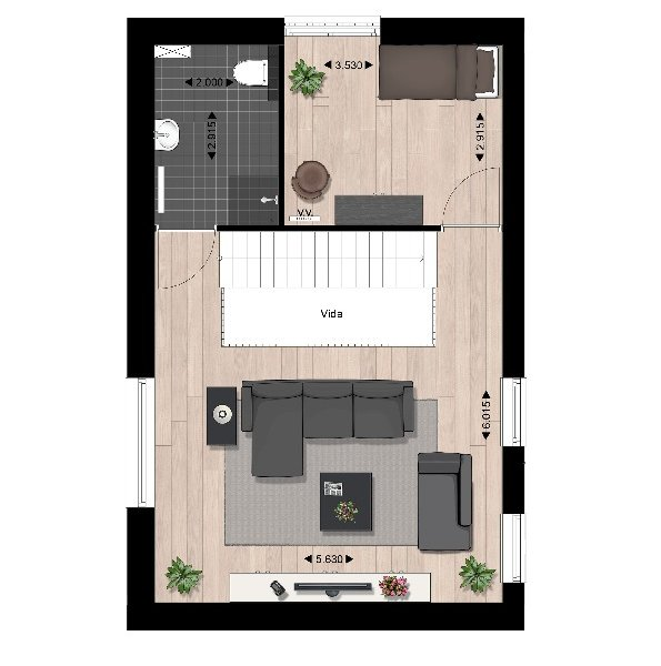 Plattegrond woningtype b2 1e verdieping