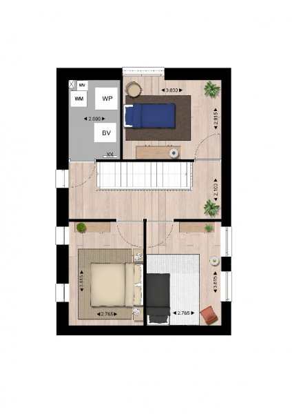 Plattegrond woningtype b2 2e verdieping