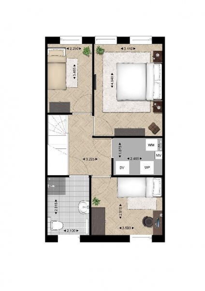 Plattegrond woningtype C 1e verdieping