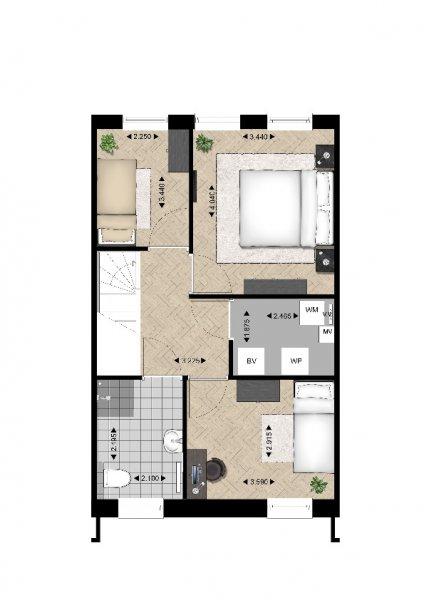 Plattegrond woningtype C1 1e verdieping