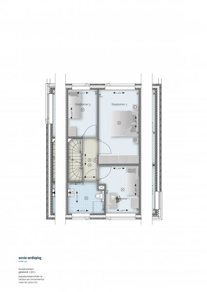 Plattegrond eerste verdieping (rijwoning)