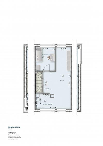 Plattegrond tweede verdieping (rijwoning)