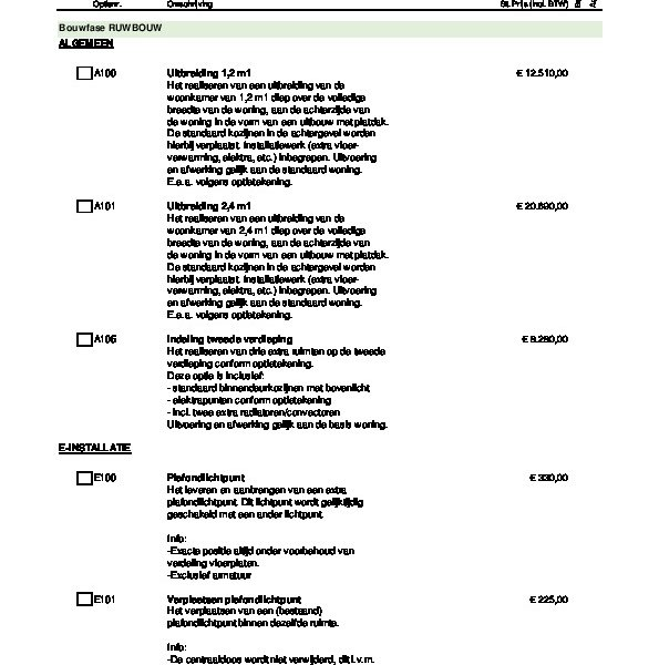 Ruwbouwoptielijst rijwoningen bnr. 1 t/m 7