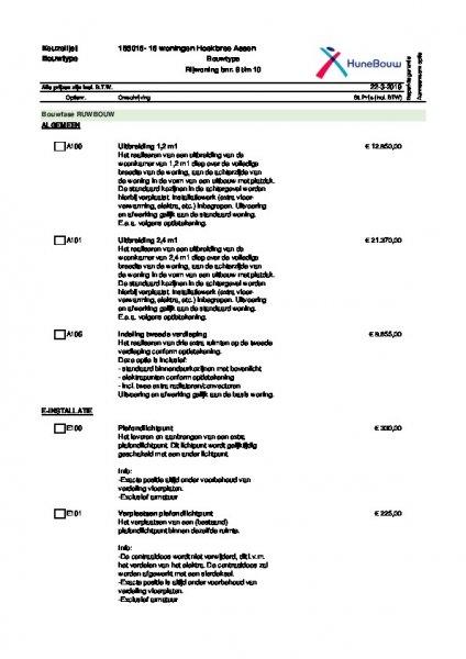 Ruwbouwoptielijst rijwoningen bnr. 8 t/m 10