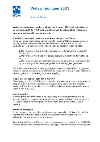 Wetwijzigingen 2021 mbt de woningmarkt