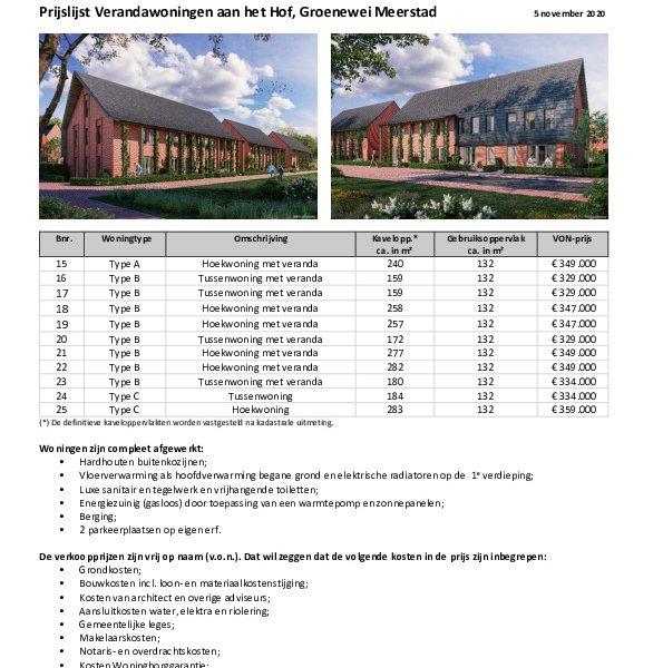prijslijst verandawoningen aan het hof