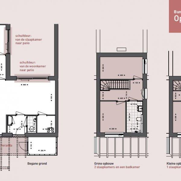 Bungalows hoek bouwnummers 1 - 8 - 9 - 16 - Tussenbungalows - Opties