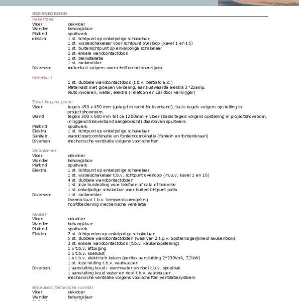 Bungalows - Keuze-/optielijst - Staat van afwerking - Technische omschrijving