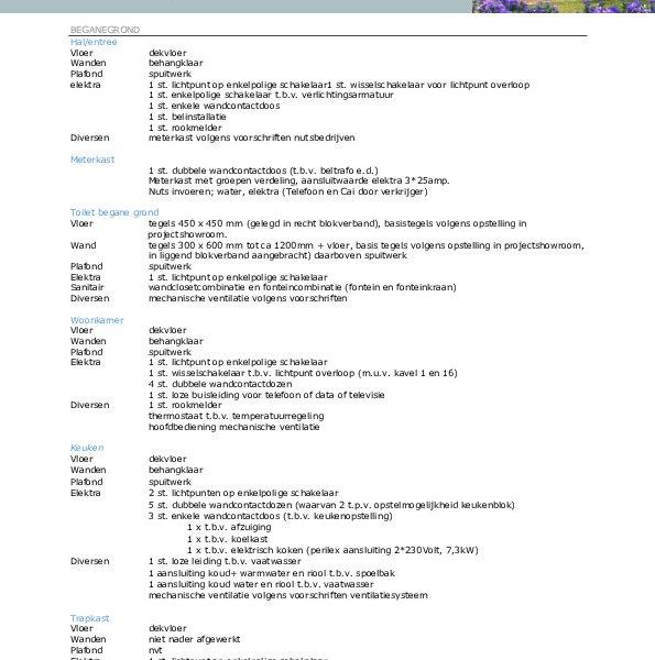 Herenhuis - Keuze-/optielijst - Staat van afwerking - Technische omschrijving